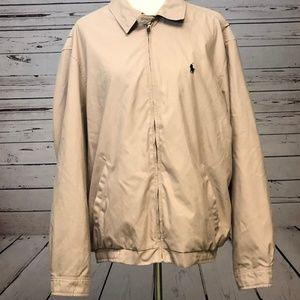 Ralph Lauren Polo Full Zip Jacket Large Beige Vtg